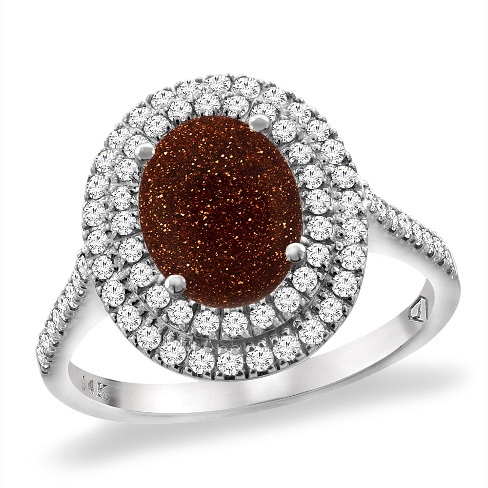 14K White Gold Natural Gold Goldstone Two Halo Diamond Engagement Ring 9x7 mm Oval, sizes 5 -10