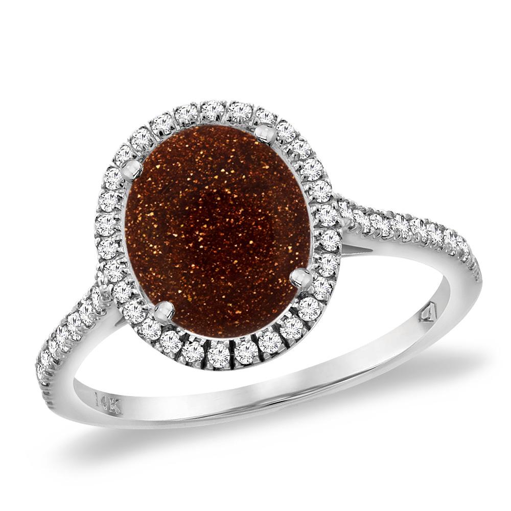 14K White Gold Goldstone Diamond Halo Engagement Ring 10x8 mm Oval, sizes 5 -10