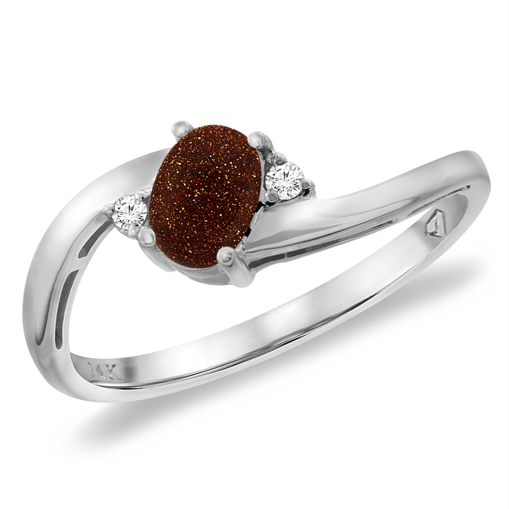14K White Gold Diamond Natural Goldstone Bypass Engagement Ring Oval 6x4 mm, sizes 5 -10