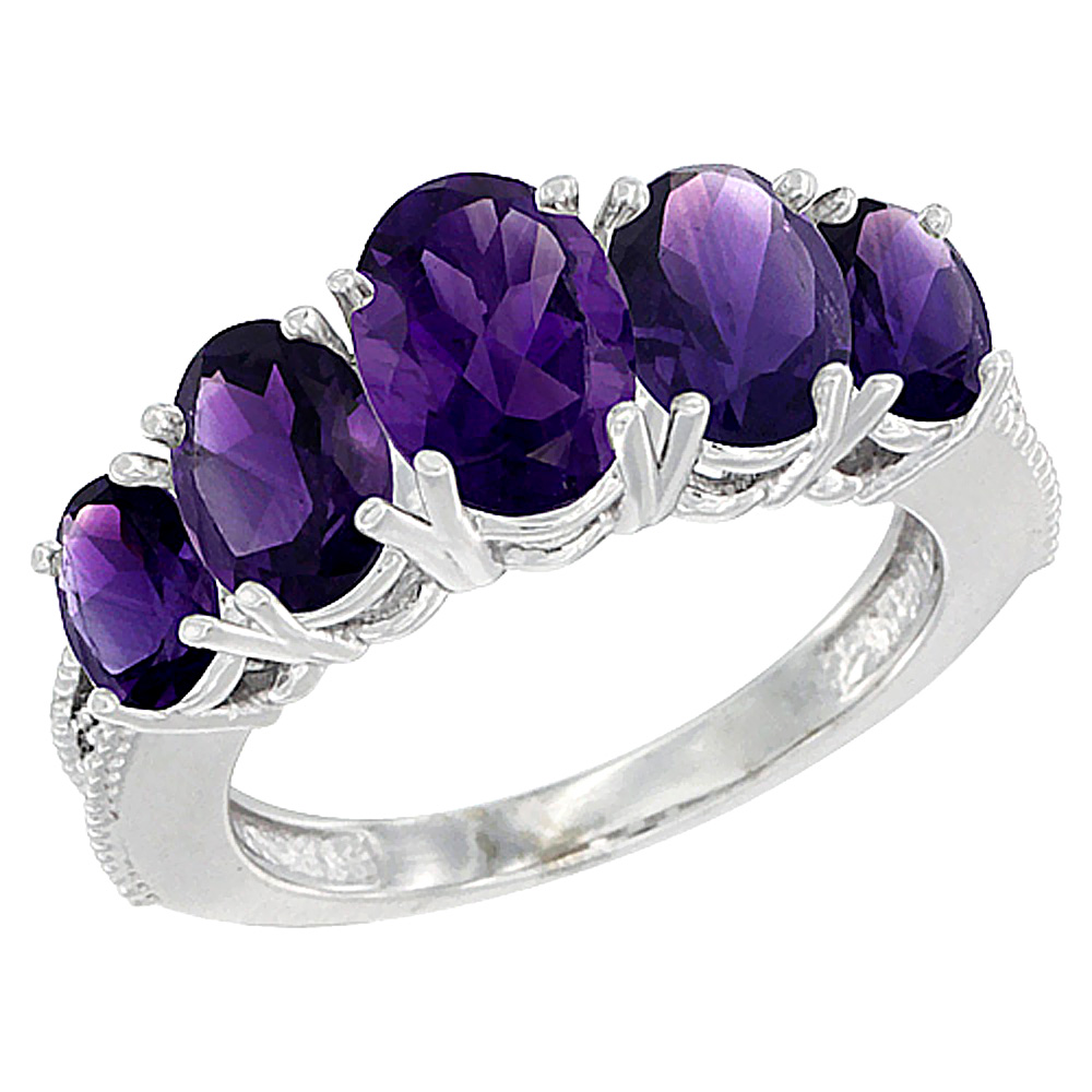 10K White Gold Diamond Natural Amethyst Ring 5-stone Oval 8x6 Ctr,7x5,6x4 sides, sizes 5 - 10