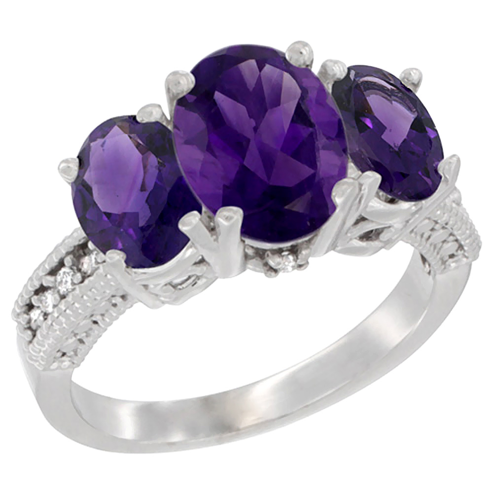 10K White Gold Diamond Natural Amethyst Ring 3-Stone Oval 8x6mm, sizes5-10