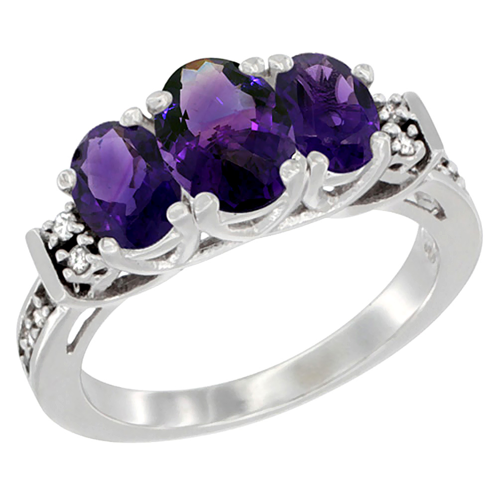 10K White Gold Natural Amethyst Ring 3-Stone Oval Diamond Accent, sizes 5-10
