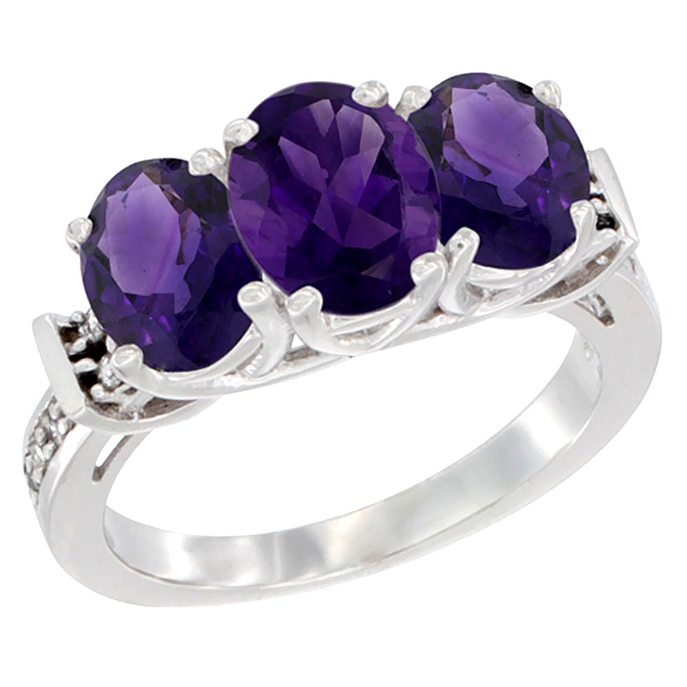10K White Gold Natural Amethyst Ring 3-Stone Oval Diamond Accent, sizes 5 - 10