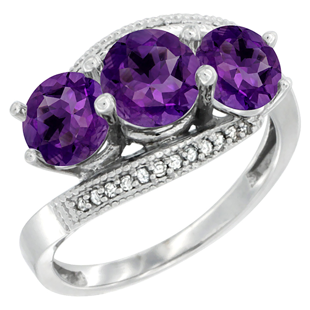 10K White Gold Natural Amethyst 3 stone Ring Round 6mm Diamond Accent, sizes 5 - 10