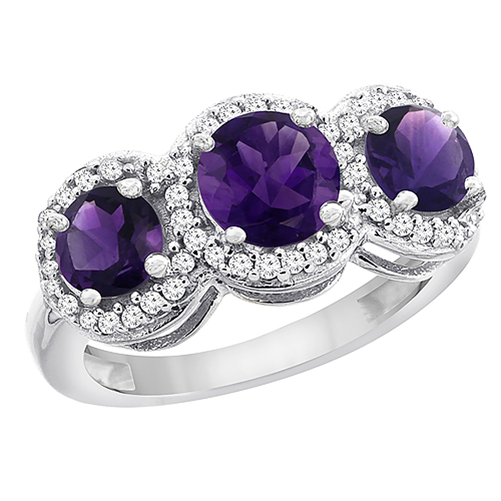 10K White Gold Natural Amethyst Round 3-stone Ring Diamond Accents, sizes 5 - 10