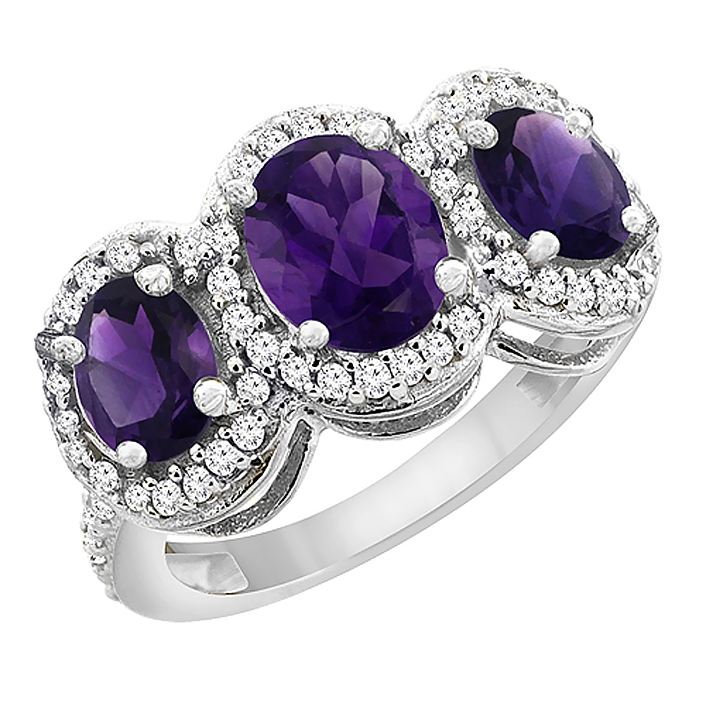 10K White Gold Natural Amethyst 3-Stone Ring Oval Diamond Accent, sizes 5 - 10