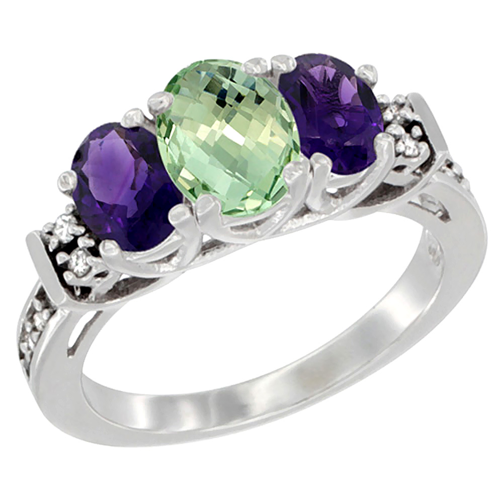 14K White Gold Natural Purple & Green Amethysts Ring 3-Stone Oval Diamond Accent, sizes 5-10