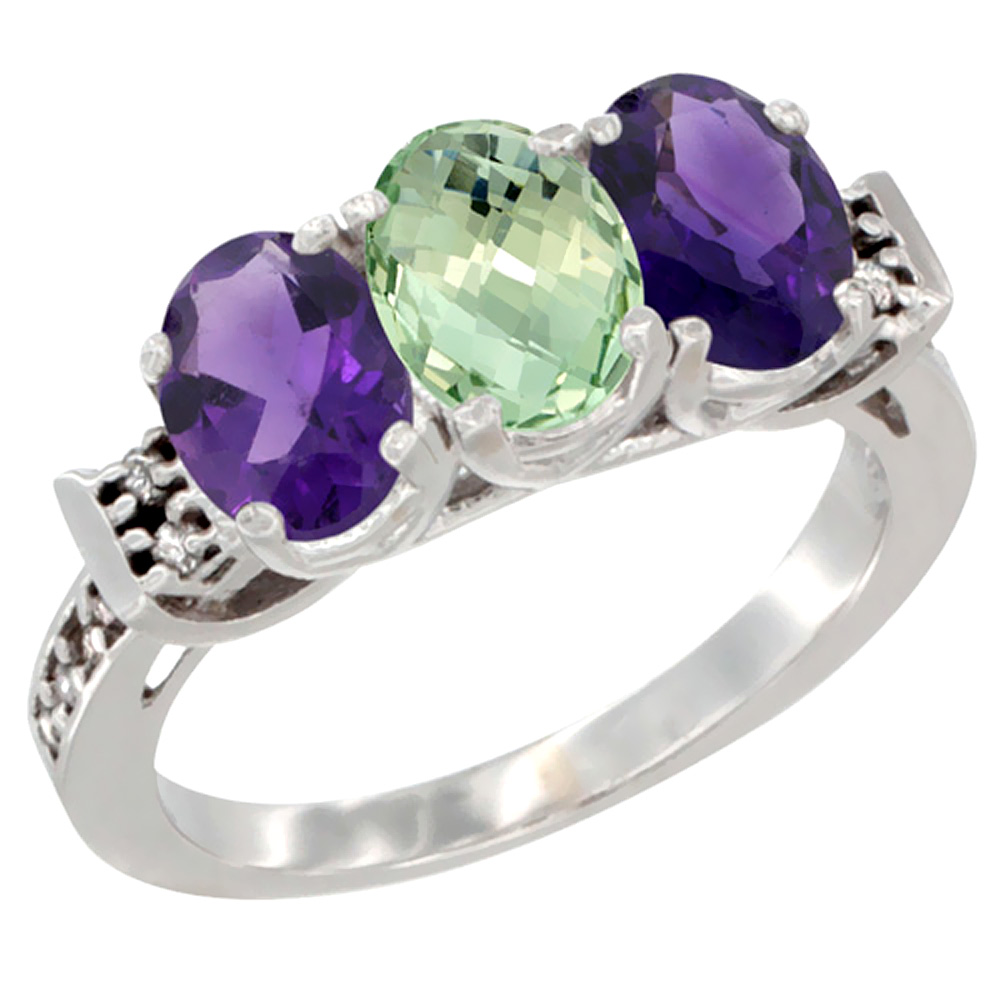 10K White Gold Natural Purple & Green Amethysts Ring 3-Stone Oval 7x5 mm Diamond Accent, sizes 5 - 10