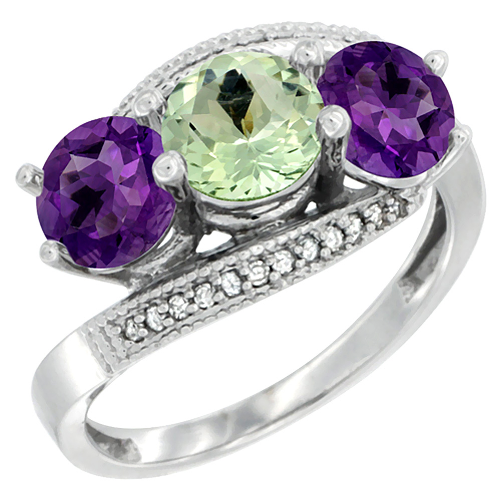 10K White Gold Natural Green & Purple Amethysts 3 stone Ring Round 6mm Diamond Accent, sizes 5 - 10