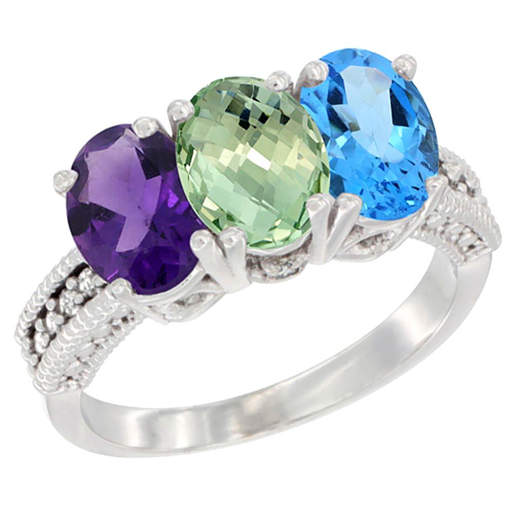 14K White Gold Natural Amethyst, Green Amethyst & Swiss Blue Topaz Ring 3-Stone 7x5 mm Oval Diamond Accent, sizes 5 - 10
