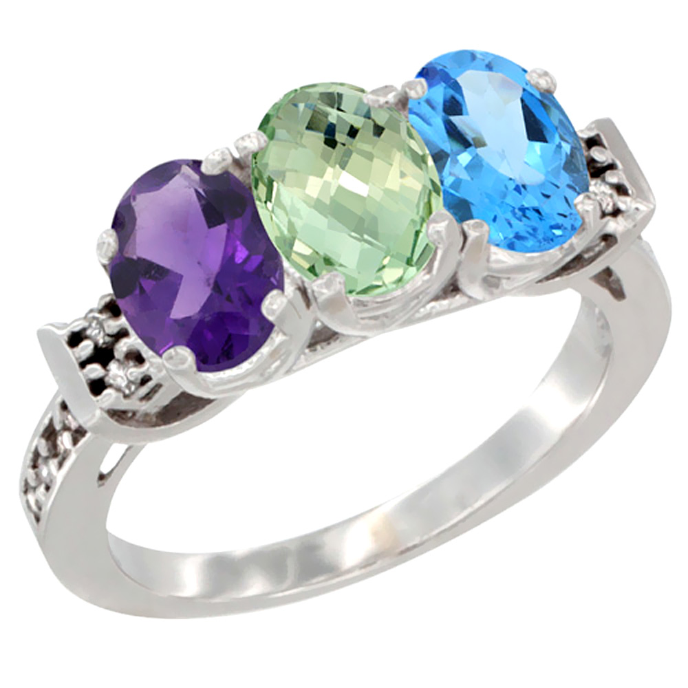 10K White Gold Natural Amethyst, Green Amethyst & Swiss Blue Topaz Ring 3-Stone Oval 7x5 mm Diamond Accent, sizes 5 - 10