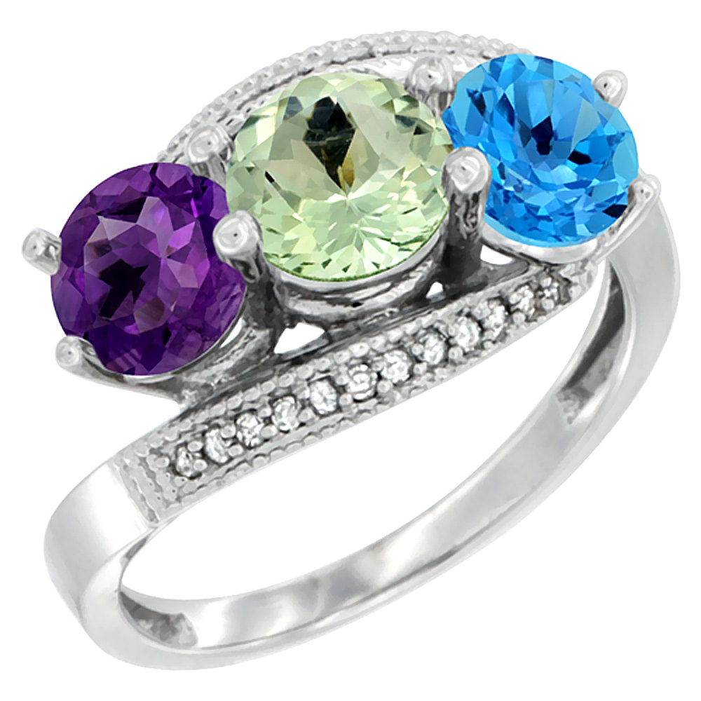 10K White Gold Natural Amethyst, Green Amethyst & Swiss Blue Topaz 3 stone Ring Round 6mm Diamond Accent, sizes 5 - 10