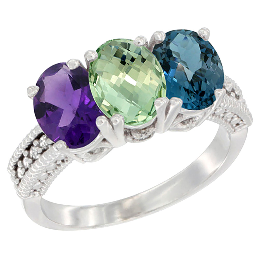 10K White Gold Natural Amethyst, Green Amethyst & London Blue Topaz Ring 3-Stone Oval 7x5 mm Diamond Accent, sizes 5 - 10