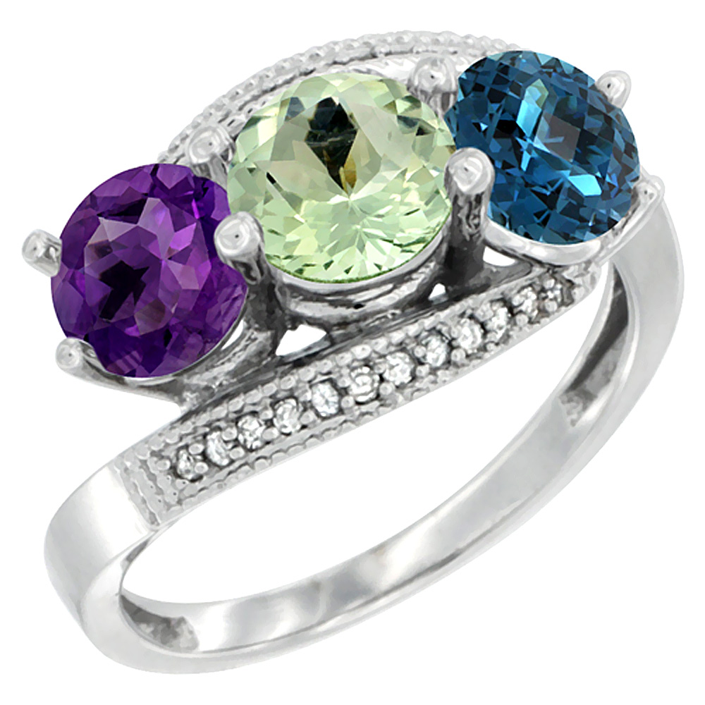 14K White Gold Natural Amethyst, Green Amethyst & London Blue Topaz 3 stone Ring Round 6mm Diamond Accent, sizes 5 - 10