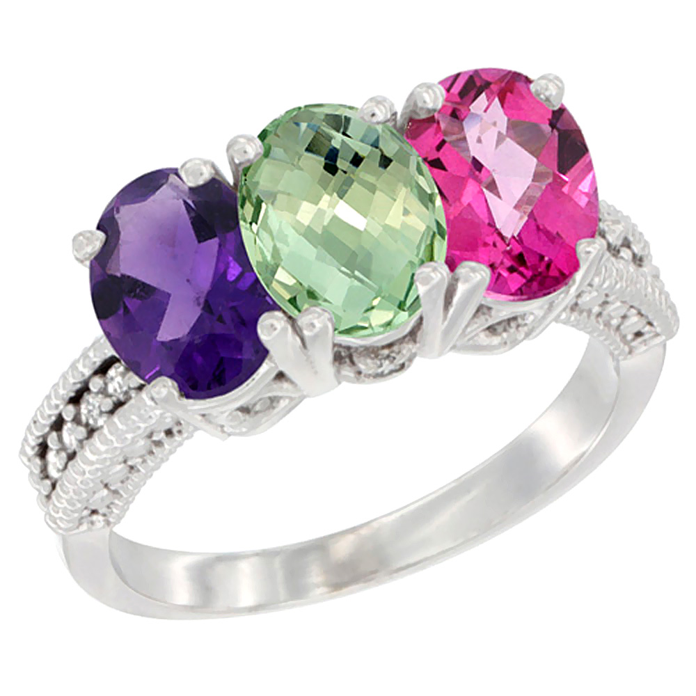 10K White Gold Natural Amethyst, Green Amethyst & Pink Topaz Ring 3-Stone Oval 7x5 mm Diamond Accent, sizes 5 - 10