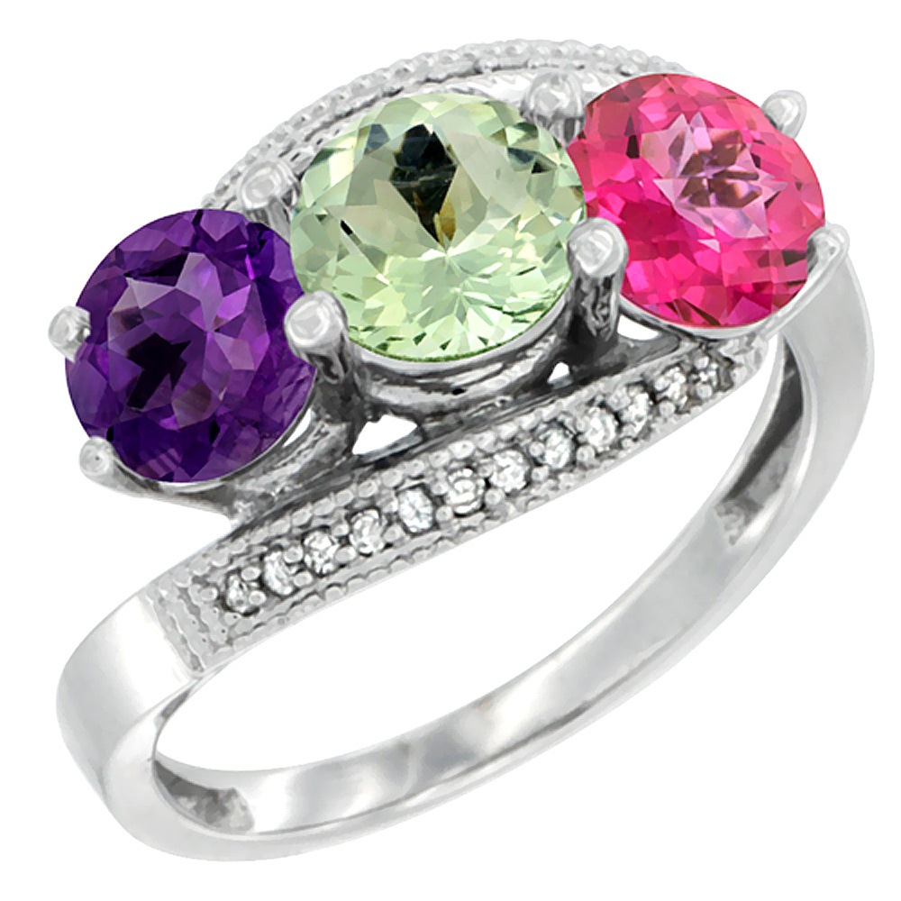 10K White Gold Natural Amethyst, Green Amethyst & Pink Topaz 3 stone Ring Round 6mm Diamond Accent, sizes 5 - 10