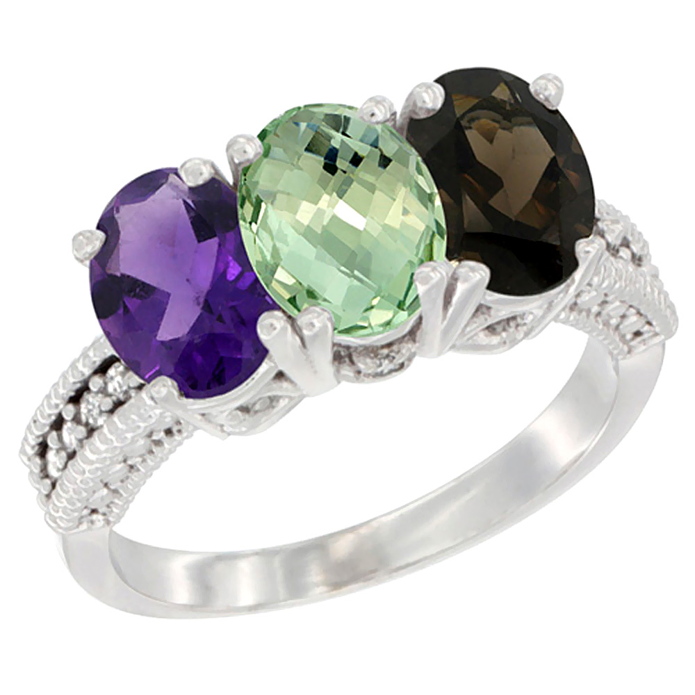 10K White Gold Natural Amethyst, Green Amethyst & Smoky Topaz Ring 3-Stone Oval 7x5 mm Diamond Accent, sizes 5 - 10