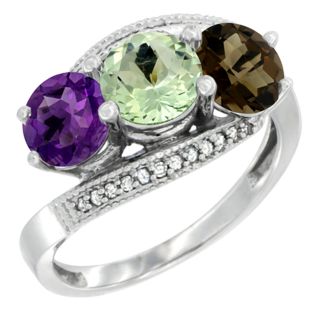 14K White Gold Natural Amethyst, Green Amethyst & Smoky Topaz 3 stone Ring Round 6mm Diamond Accent, sizes 5 - 10