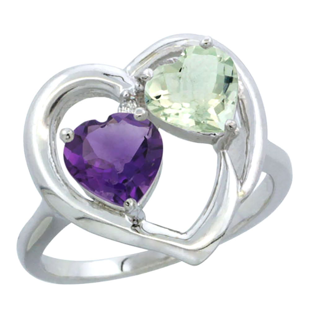 14K White Gold Diamond Two-stone Heart Ring 6mm Natural Amethyst & Green Amethyst, sizes 5-10