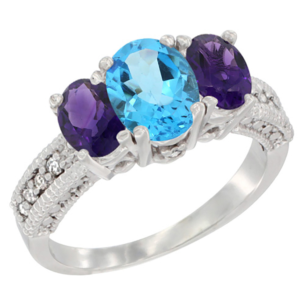 14K White Gold Diamond Natural Swiss Blue Topaz Ring Oval 3-stone with Amethyst, sizes 5 - 10