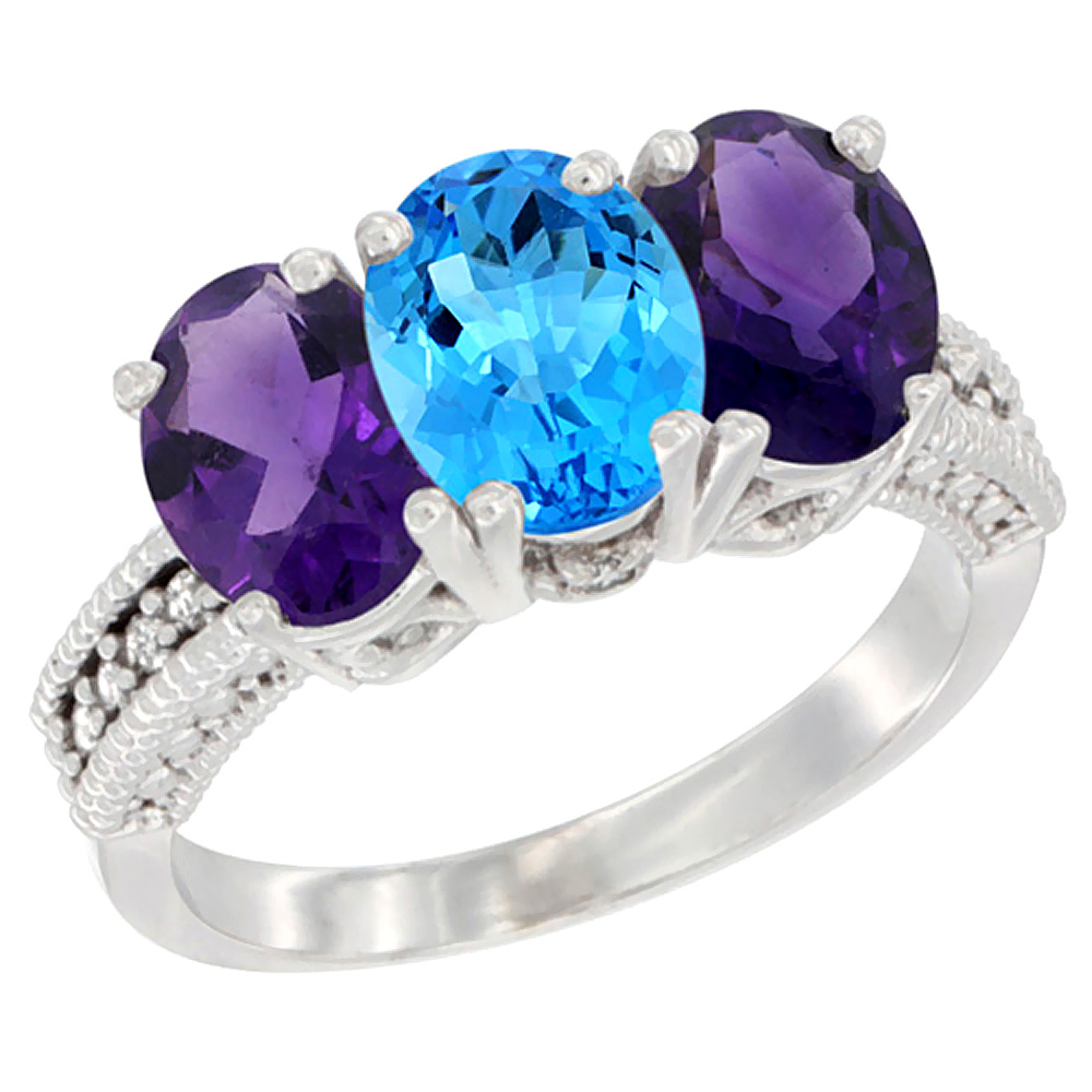 14K White Gold Natural Swiss Blue Topaz & Amethyst Ring 3-Stone 7x5 mm Oval Diamond Accent, sizes 5 - 10