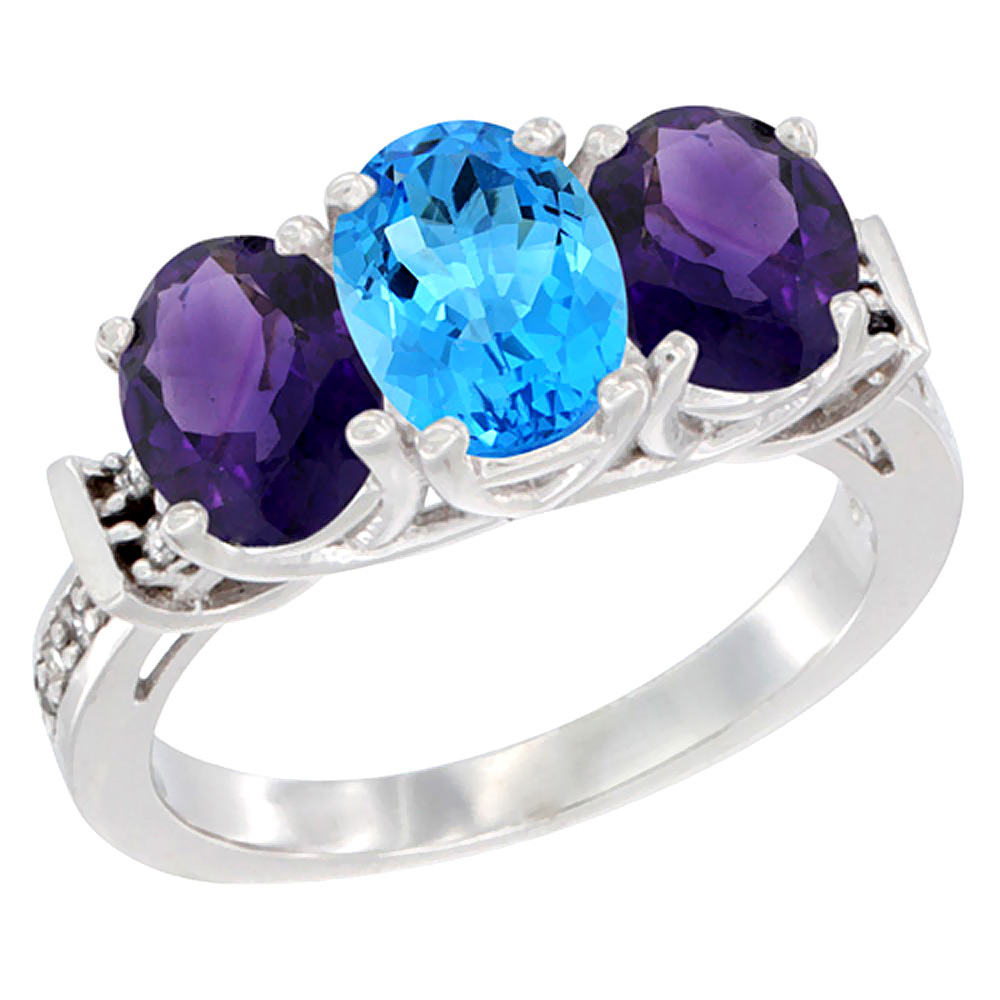 14K White Gold Natural Swiss Blue Topaz & Amethyst Sides Ring 3-Stone Oval Diamond Accent, sizes 5 - 10