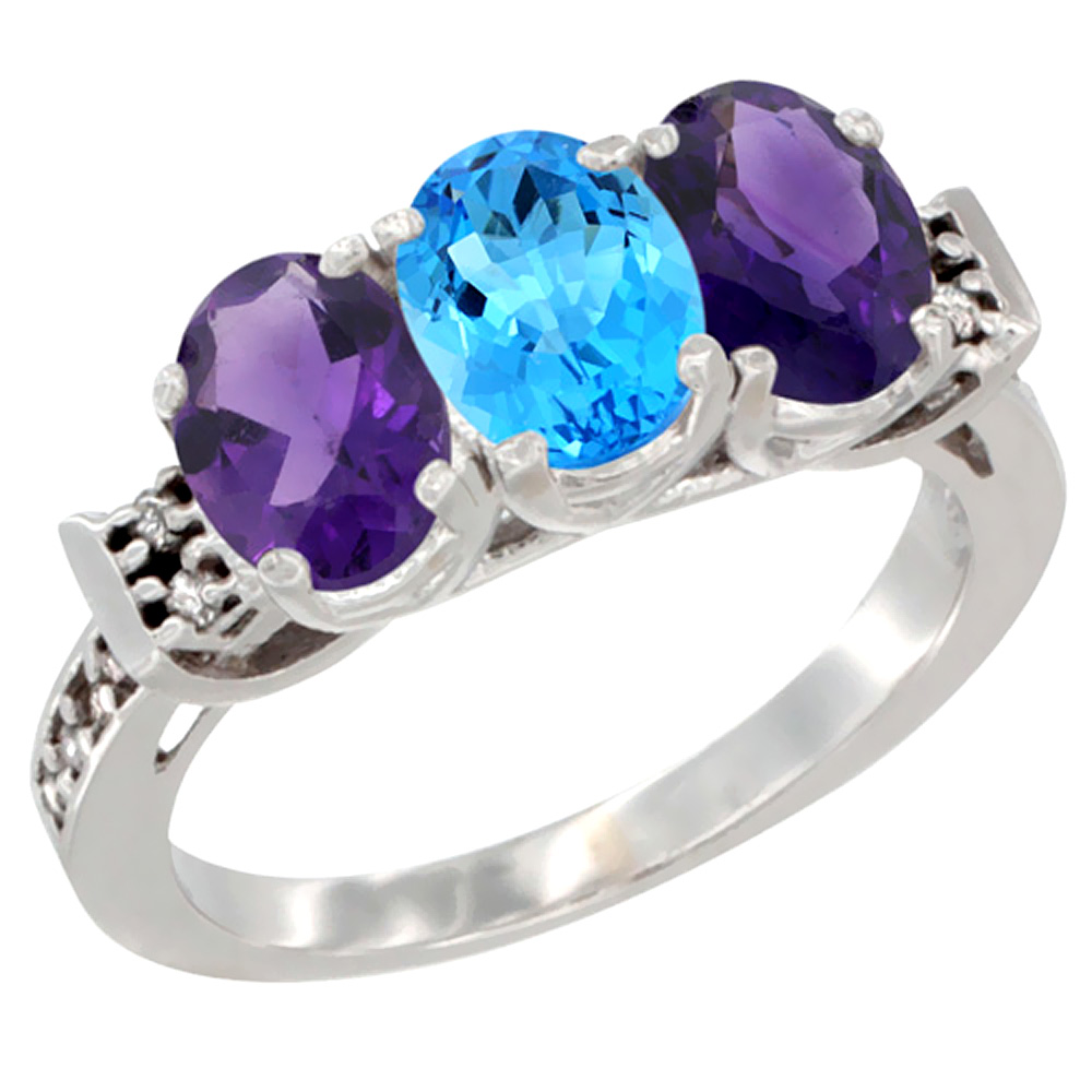 14K White Gold Natural Swiss Blue Topaz & Amethyst Sides Ring 3-Stone 7x5 mm Oval Diamond Accent, sizes 5 - 10