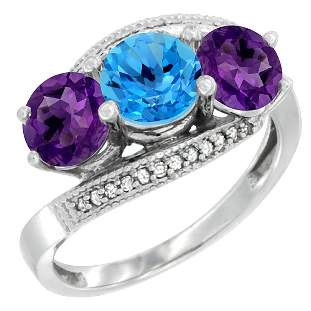 10K White Gold Natural Swiss Blue Topaz & Amethyst Sides 3 stone Ring Round 6mm Diamond Accent, sizes 5 - 10