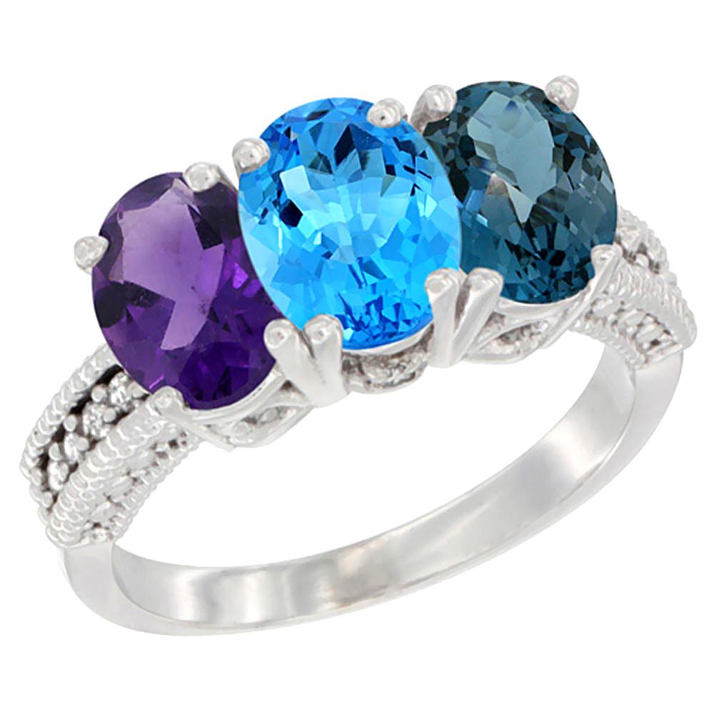 14K White Gold Natural Amethyst, Swiss Blue Topaz & London Blue Topaz Ring 3-Stone 7x5 mm Oval Diamond Accent, sizes 5 - 10