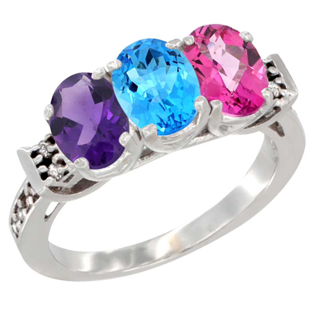 14K White Gold Natural Amethyst, Swiss Blue Topaz & Pink Topaz Ring 3-Stone 7x5 mm Oval Diamond Accent, sizes 5 - 10
