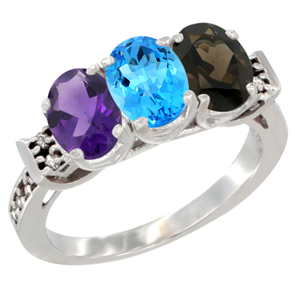 14K White Gold Natural Amethyst, Swiss Blue Topaz & Smoky Topaz Ring 3-Stone 7x5 mm Oval Diamond Accent, sizes 5 - 10