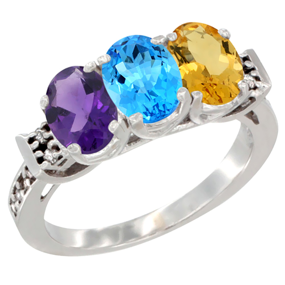 14K White Gold Natural Amethyst, Swiss Blue Topaz & Citrine Ring 3-Stone 7x5 mm Oval Diamond Accent, sizes 5 - 10