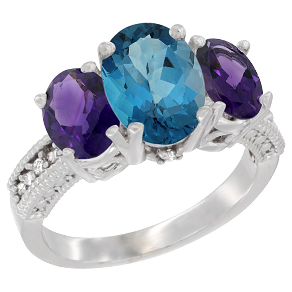 10K White Gold Diamond Natural London Blue Topaz Ring 3-Stone Oval 8x6mm with Amethyst, sizes5-10