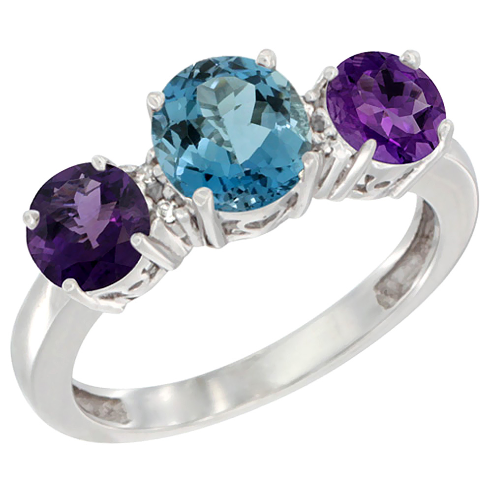 10K White Gold Round 3-Stone Natural London Blue Topaz Ring & Amethyst Sides Diamond Accent, sizes 5 - 10
