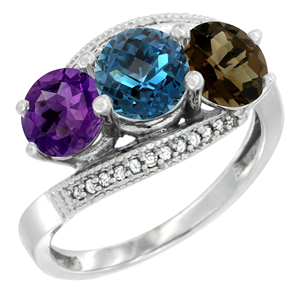 10K White Gold Natural Amethyst, London Blue & Smoky Topaz 3 stone Ring Round 6mm Diamond Accent, sizes 5 - 10
