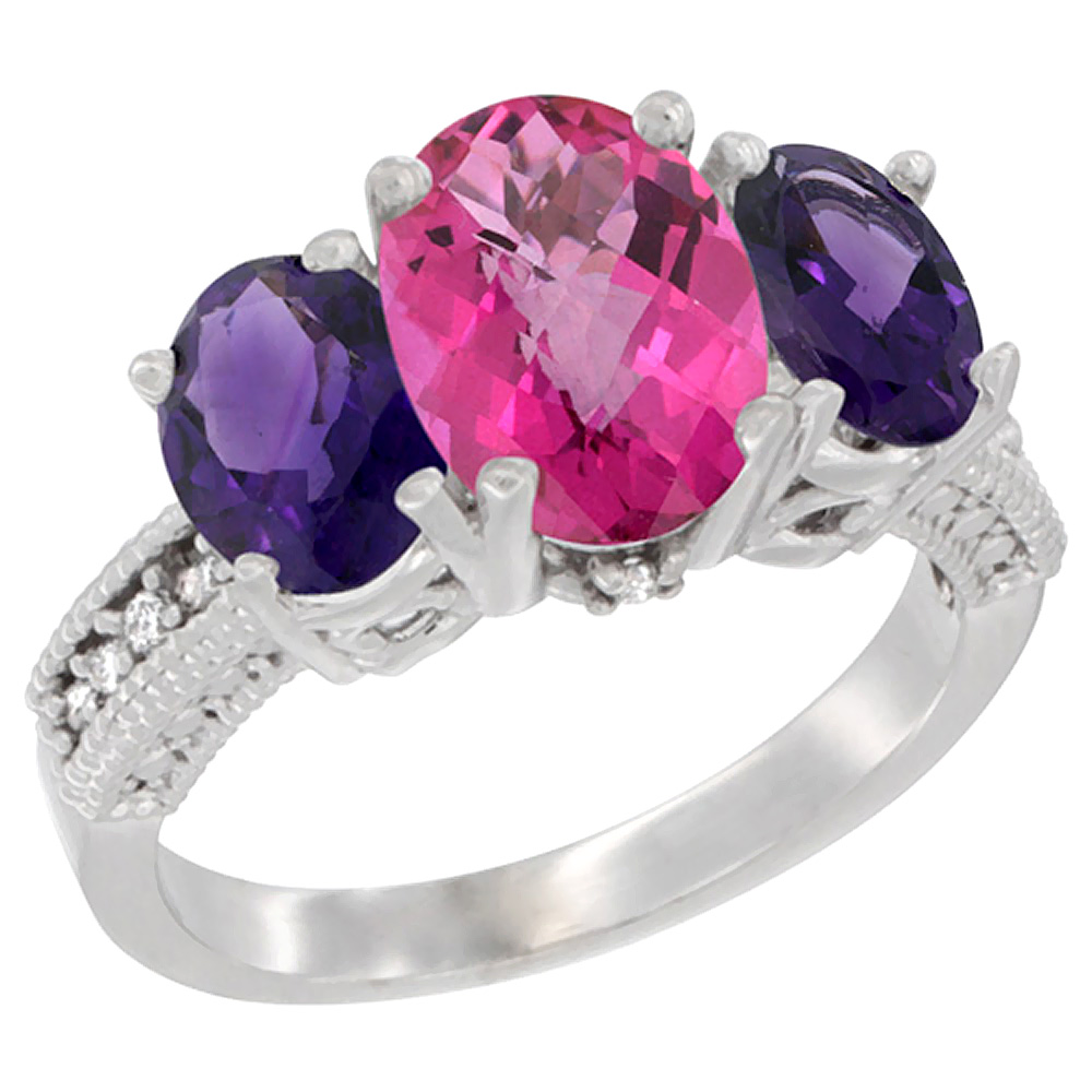 14K White Gold Diamond Natural Pink Topaz Ring 3-Stone Oval 8x6mm with Amethyst, sizes5-10