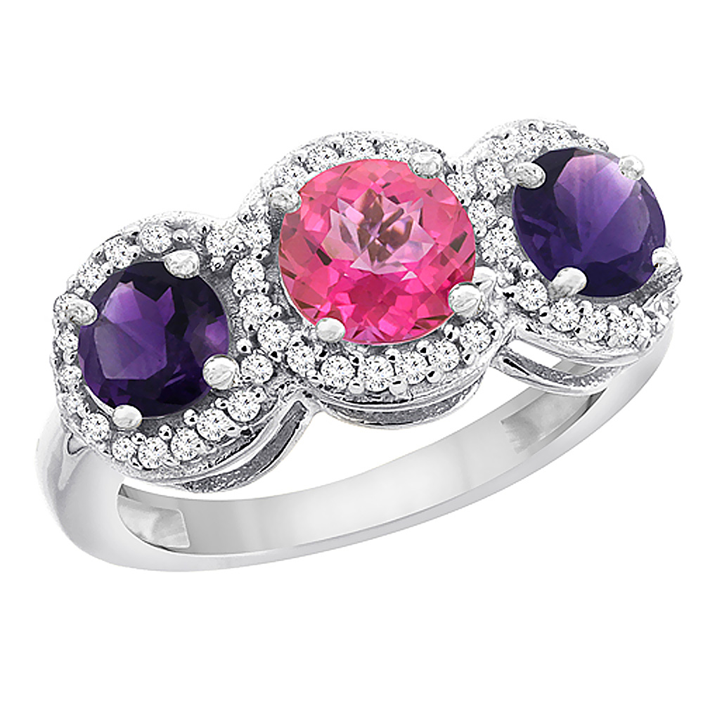 10K White Gold Natural Pink Topaz & Amethyst Sides Round 3-stone Ring Diamond Accents, sizes 5 - 10