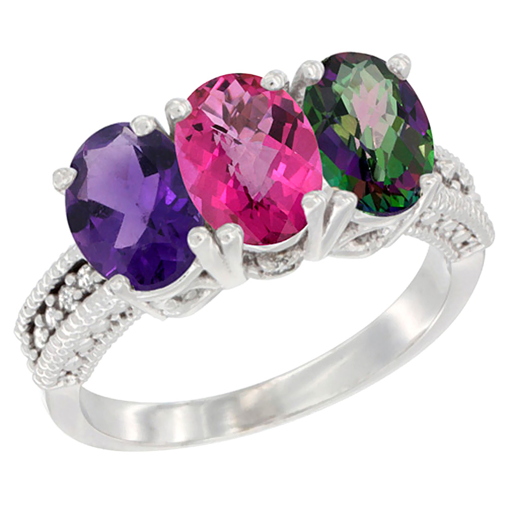 14K White Gold Natural Amethyst, Pink Topaz & Mystic Topaz Ring 3-Stone 7x5 mm Oval Diamond Accent, sizes 5 - 10