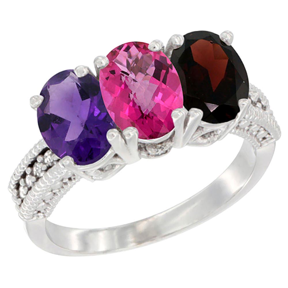 14K White Gold Natural Amethyst, Pink Topaz & Garnet Ring 3-Stone 7x5 mm Oval Diamond Accent, sizes 5 - 10