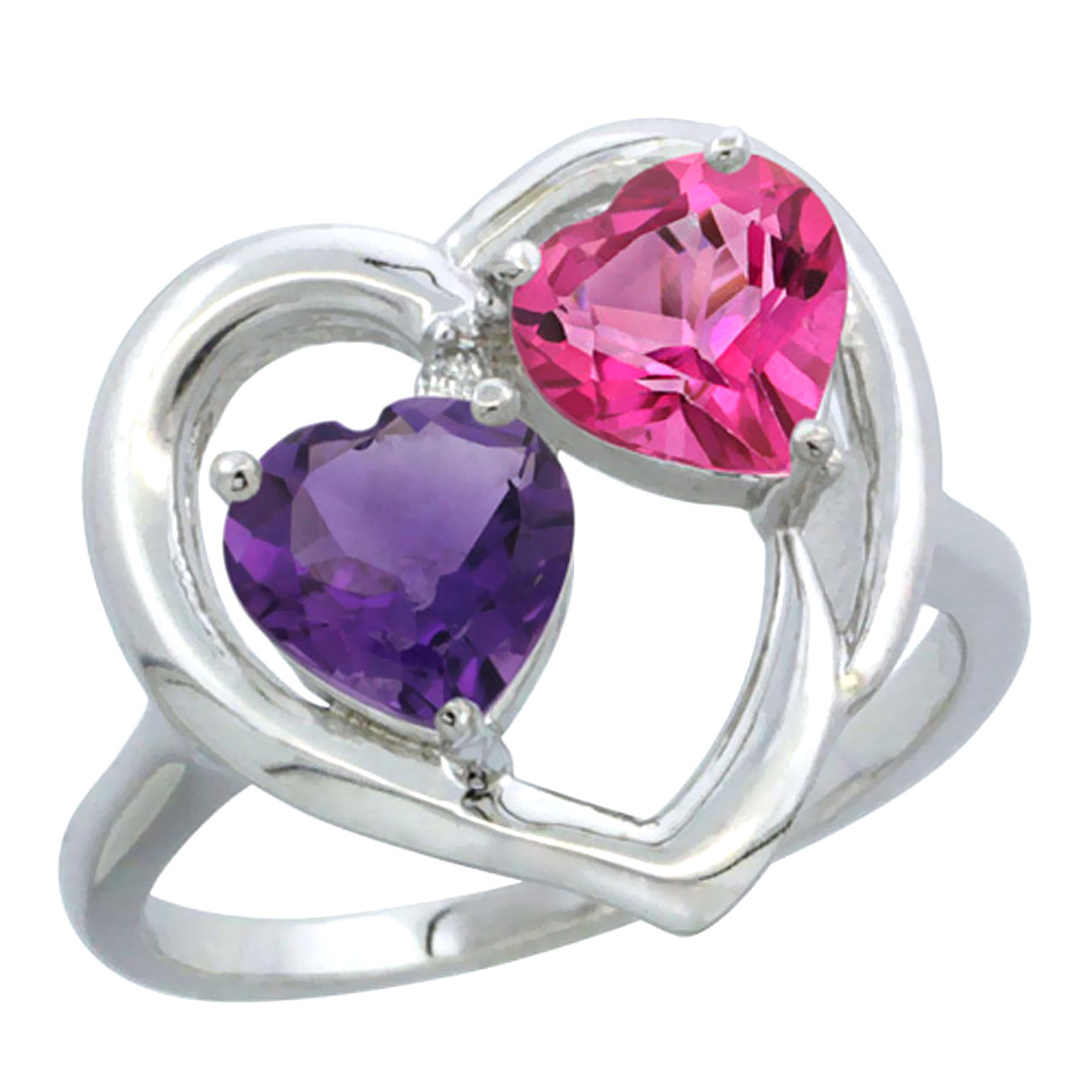 14K White Gold Diamond Two-stone Heart Ring 6mm Natural Amethyst & Pink Topaz, sizes 5-10