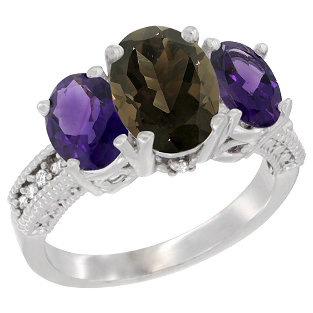 14K White Gold Diamond Natural Smoky Topaz Ring 3-Stone Oval 8x6mm with Amethyst, sizes5-10