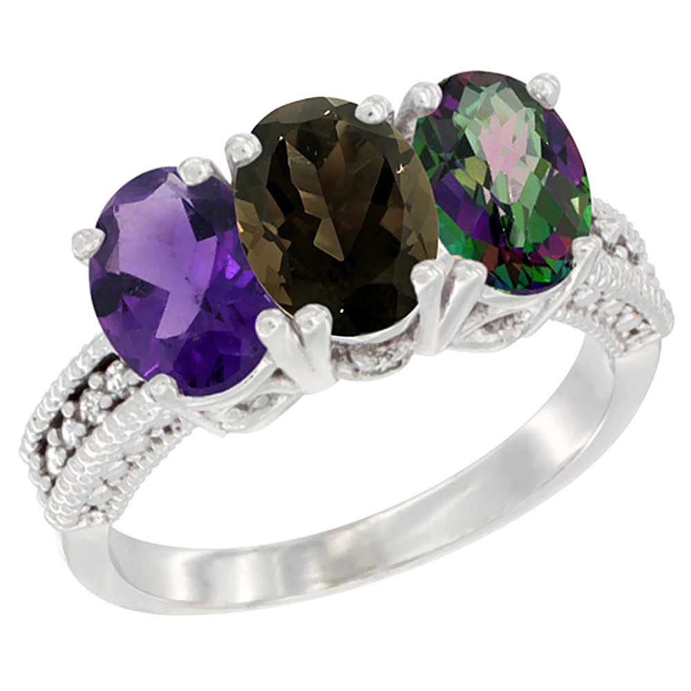 14K White Gold Natural Amethyst, Smoky Topaz & Mystic Topaz Ring 3-Stone 7x5 mm Oval Diamond Accent, sizes 5 - 10