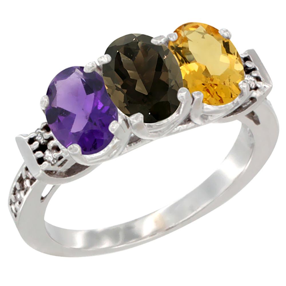10K White Gold Natural Amethyst, Smoky Topaz & Citrine Ring 3-Stone Oval 7x5 mm Diamond Accent, sizes 5 - 10
