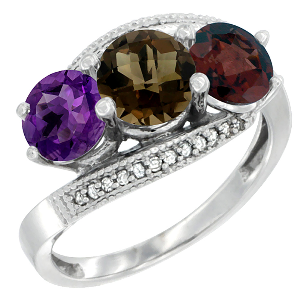 14K White Gold Natural Amethyst, Smoky Topaz & Garnet 3 stone Ring Round 6mm Diamond Accent, sizes 5 - 10