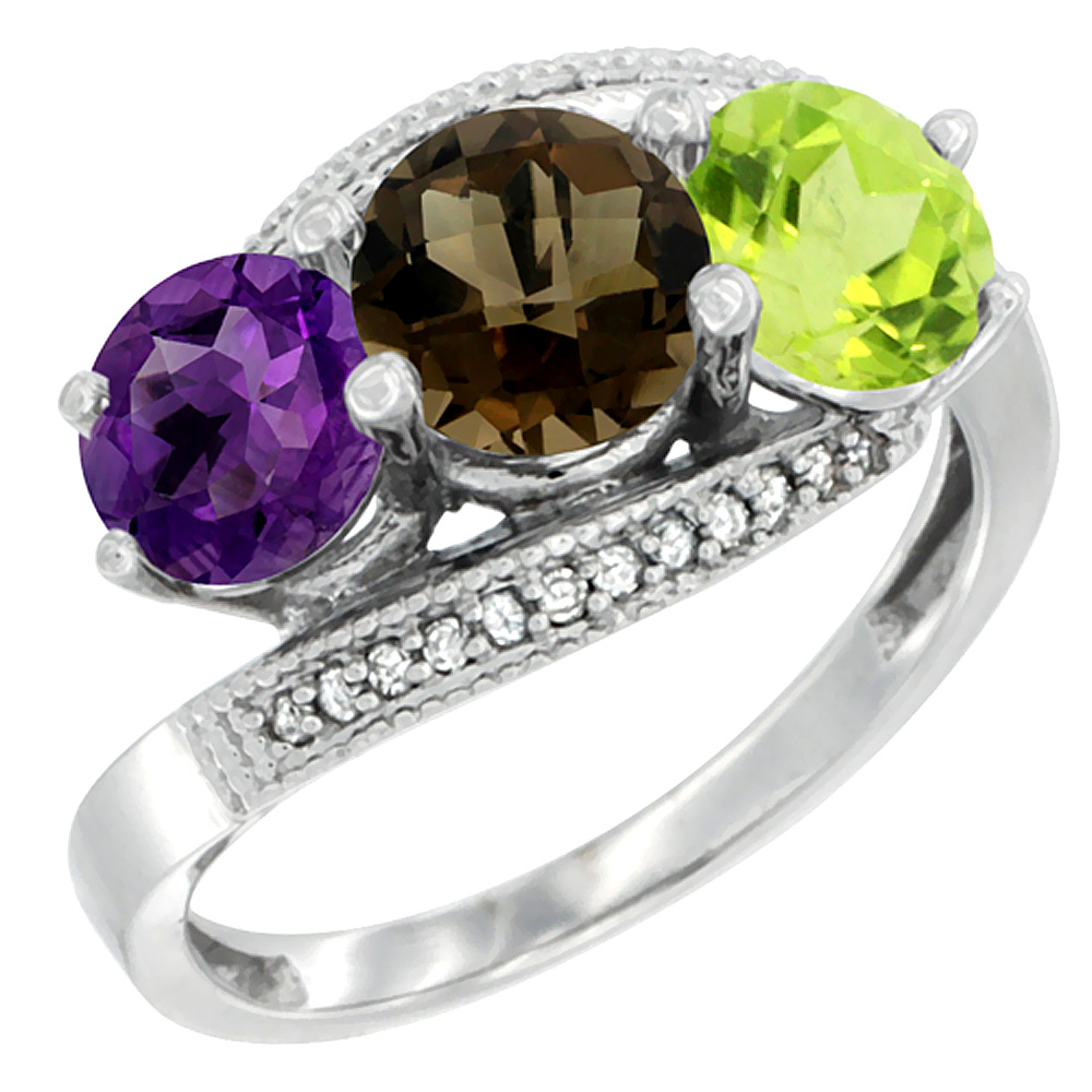 10K White Gold Natural Amethyst, Smoky Topaz & Peridot 3 stone Ring Round 6mm Diamond Accent, sizes 5 - 10