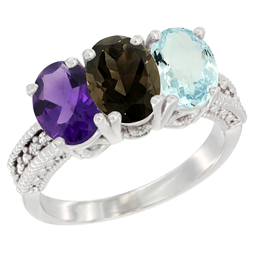 14K White Gold Natural Amethyst, Smoky Topaz & Aquamarine Ring 3-Stone 7x5 mm Oval Diamond Accent, sizes 5 - 10