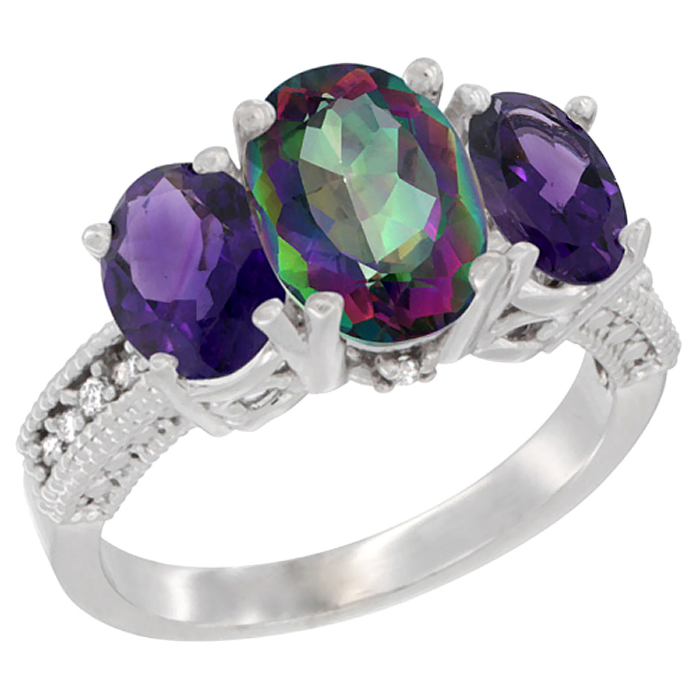 10K White Gold Diamond Natural Mystic Topaz Ring 3-Stone Oval 8x6mm with Amethyst, sizes5-10