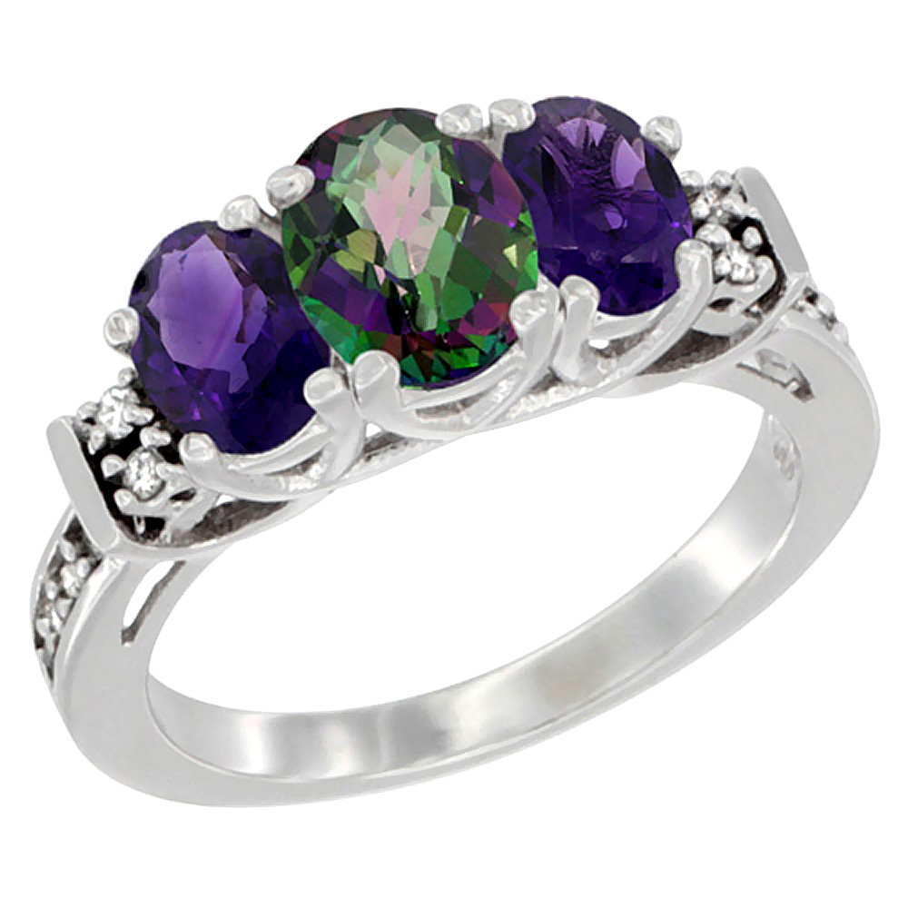 14K White Gold Natural Mystic Topaz & Amethyst Ring 3-Stone Oval Diamond Accent, sizes 5-10