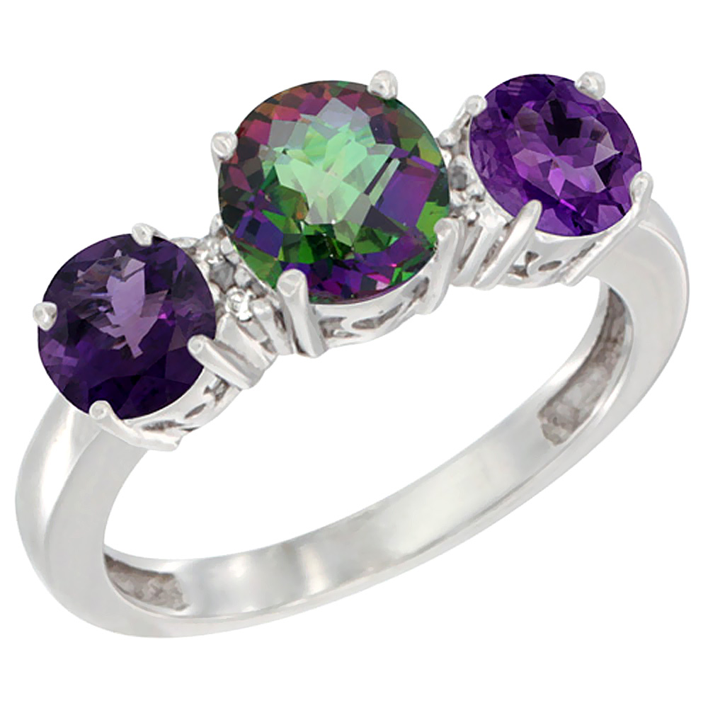 10K White Gold Round 3-Stone Natural Mystic Topaz Ring & Amethyst Sides Diamond Accent, sizes 5 - 10