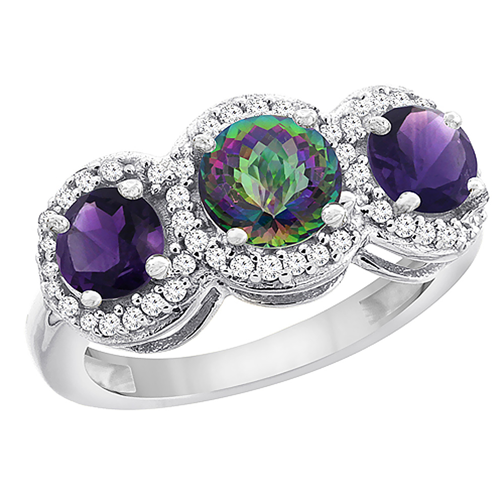 10K White Gold Natural Mystic Topaz & Amethyst Sides Round 3-stone Ring Diamond Accents, sizes 5 - 10